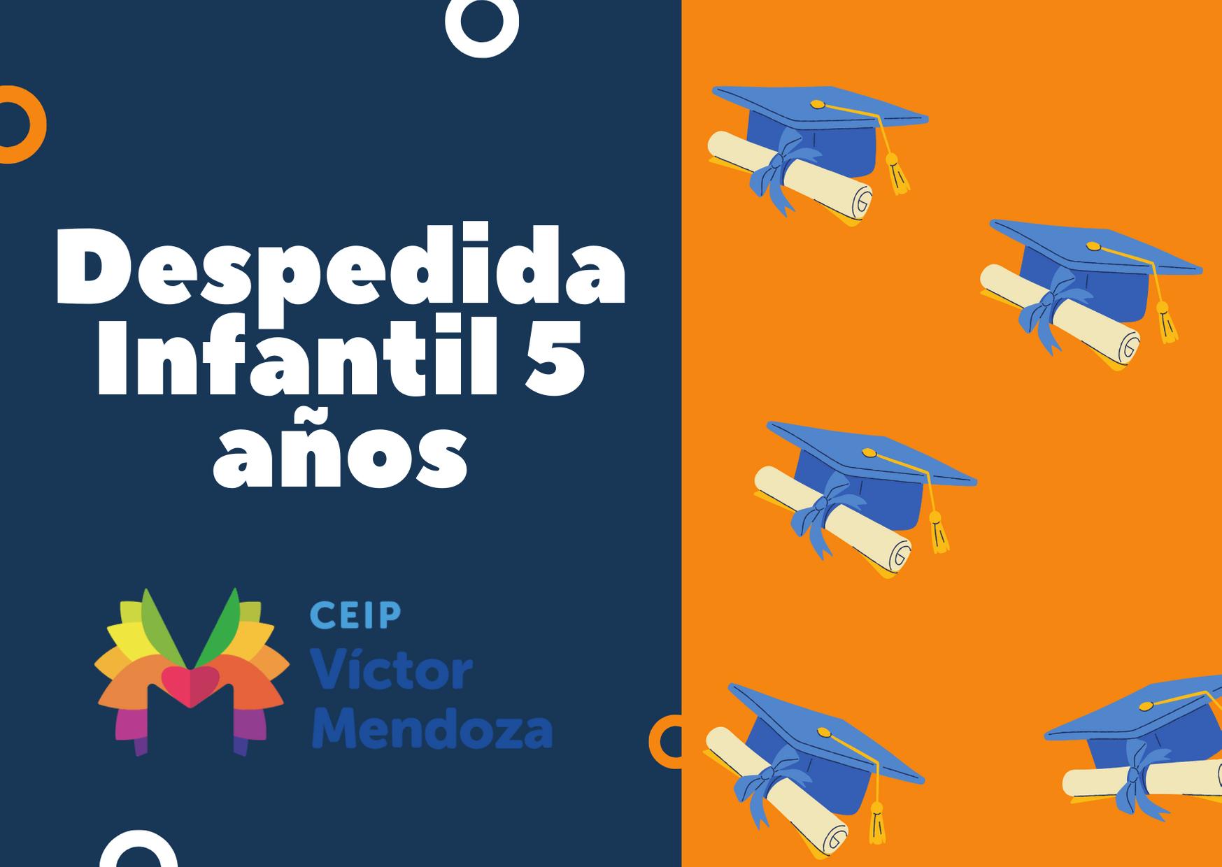 Tarjeta de Agradecimiento en Azul y Naranja con Birretes de Graduación